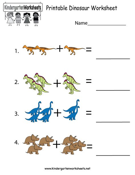 printable dinosaur worksheet free kindergarten learning