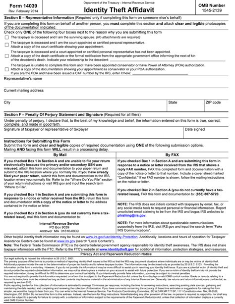 irs identity theft forms national affinity services