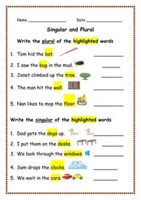 matching singular  plural nouns worksheet  images