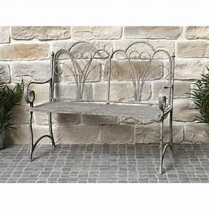 Banc De Jardin En Fer : banc fauteuil de jardin pliable en fer 110 cm banc de jardin gris fer chemin de campagne ~ Melissatoandfro.com Idées de Décoration