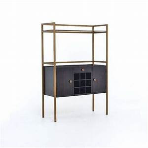 Downing White and Antique Brass Bar Cabinet