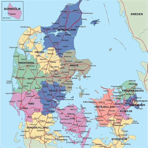 denmark political map map  denmark political northern