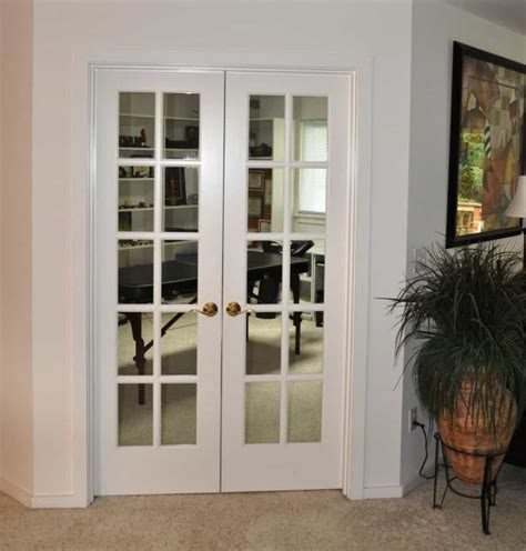 Home Office With White French Door - Beautiful Interior