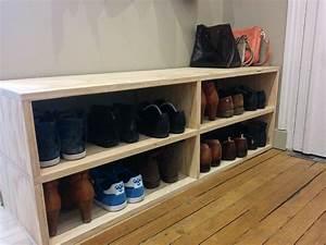 Meuble A Chaussure Banc : le banc pour ranger les chaussures dans l entr e fait par vincent diy ~ Preciouscoupons.com Idées de Décoration