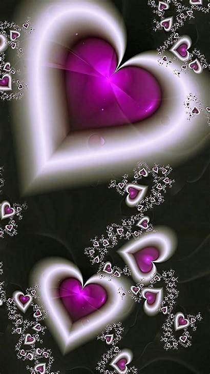 Hearts Heart Pretty Backgrounds Purple Wallpapers Iphone