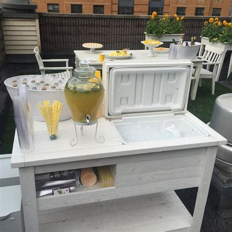 patio bar table cooler rustic wooden cooler table bar cart wine bar with mini