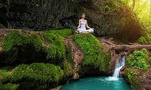 Wallpapers Lotus position Yoga Girls Nature Stream ...