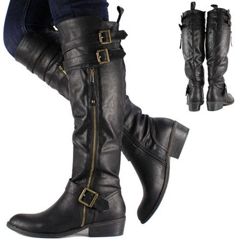 womens black biker boots womens black knee high leather biker riding boots shoes