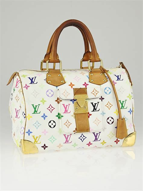 louis vuitton white monogram multicolore speedy  bag