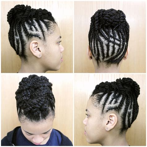 protective style intricate braided updo black girl