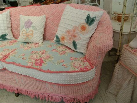 shabby chic slipcovered sofa shabby chic sofa slipcovered with vintage chenille bedspreads and roses fabrics