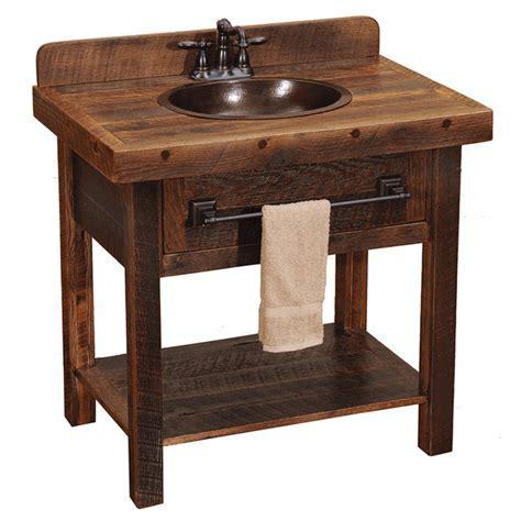 Barnwood Open Vanity with Towel Bar
