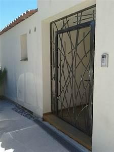 creation porte grille en fer forge sur mesure modele eva With porte fenetre fer forgé