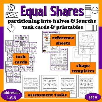 equal shares partitioning  halvesfourths task cards