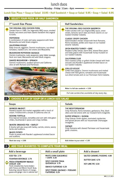 Menu For California Pizza Kitchen (town Center At Boca