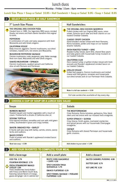 menu  california pizza kitchen town center  boca