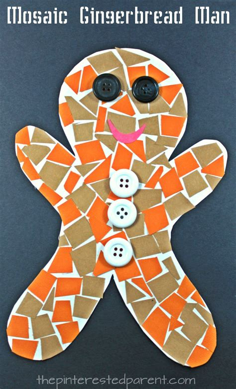 construction paper mosaic gingerbread winter and 600   ce291ea9f11243346b03e89ed2065067