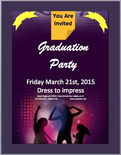 graduation party invitation flyer template word