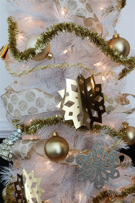gold foil  glittery paper snowflake ornaments