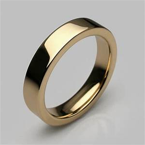 Times square slim ring in yellow gold mens and womens for Wedding rings under 150