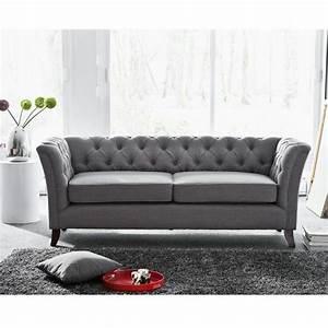Canapé Tissu Gris : photos canap chesterfield tissu gris ~ Teatrodelosmanantiales.com Idées de Décoration