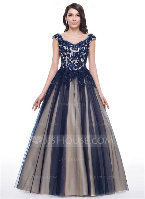 Ball-Gown Sweetheart Floor-Length Tulle Prom Dress With Beading Appliques Lace Sequins ...