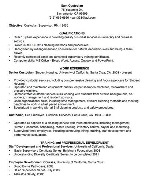 Custodian Resume by Custodian Resume Sle Http Exleresumecv Org