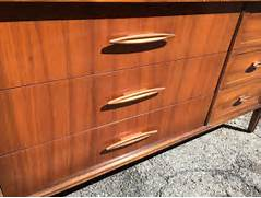 Mid Century Modern Kitchen Cabinet Handles by Mid Century Modern Long Wooden Sideboard Dresser Attainable Vintage