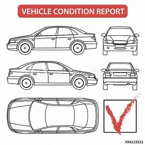 Vehicle Condition Report  Car Checklist  Auto Damage Inspection  Illustration