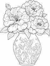 Coloring Flower Pages Adults Flowers sketch template