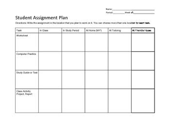 student assignment planner  middle school students rti