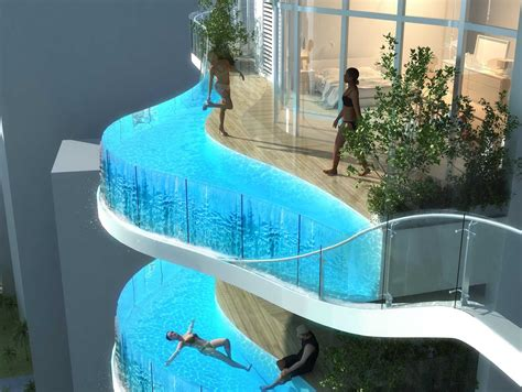 futuristic bedroom set with suspended luxury condo with balcony pools business insider