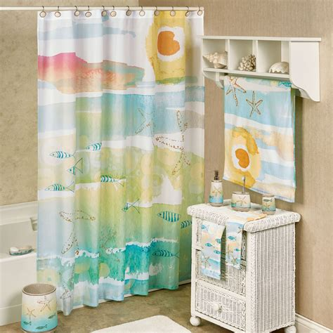 tropical fish shower curtain by the sea watercolor coastal shower curtain