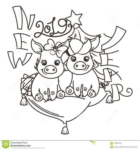 happy   year card  cartoon baby pig small symbol  holiday stock vector