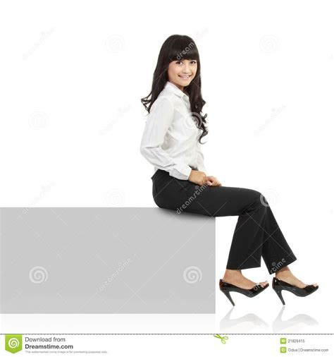 For Sitting by Smiling Sitting On Horizontal Banner Edge Royalty