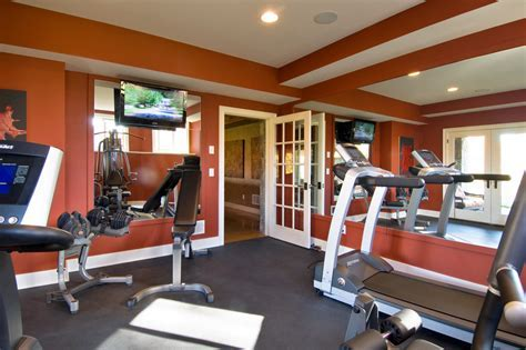 burnt orange paint color Home Gym Traditional with none