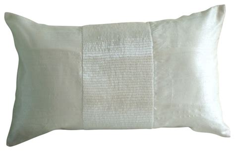 Maddie Beaded Lumbar Pillow Cover Traditional by Metallic Beaded 12 Quot X14 Quot Silk White Lumbar Pillow Cover