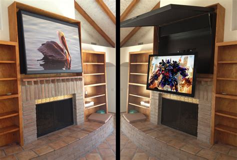 Hiding A Flat Panel Tv Above A Fireplace-contemporary