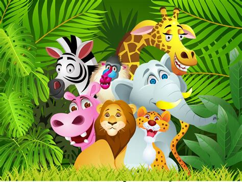 Baby Jungle Animals Wallpaper - jungle animals children s wall mural ohpopsi