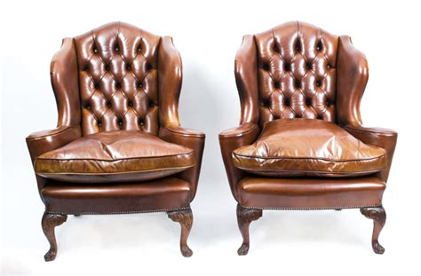 Antique Pair English Leather Wingback Armchairs C.1900
