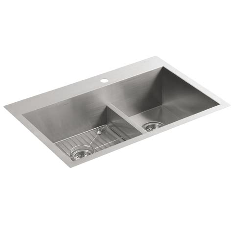 kohler vault 3839 1 na stainless steel offset smart divide