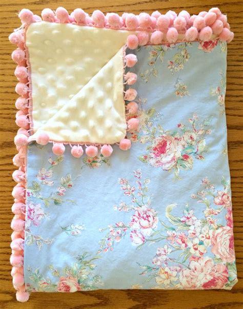 shabby chic receiving blanket baby blanket shabby chic blue floral ivory minky pink pom pom trim by sherbertlane on etsy