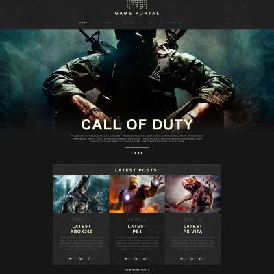 gaming website template templates