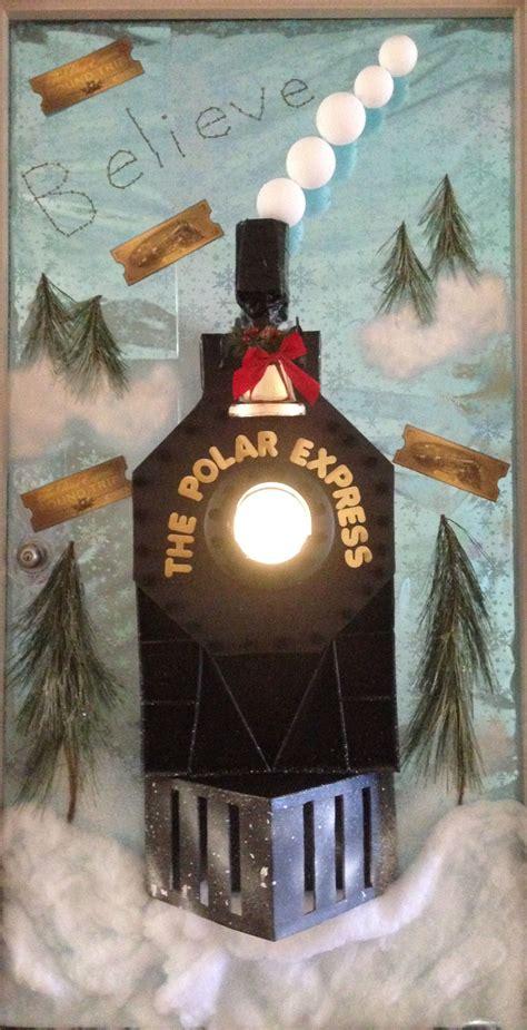 polar express decorated door christmas pinterest