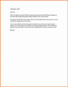Resignation Letter Format Best Ideas Short Notice Resignation