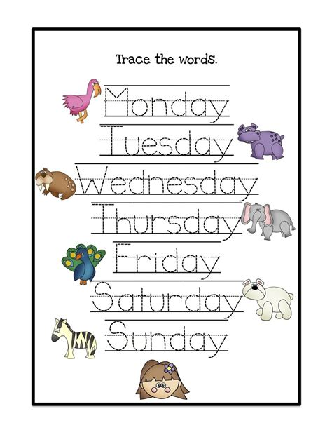 days of the week worksheets activity shelter