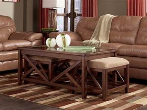 Boarder rectangular cocktail table with 2 nesting ottomans for Coffee table with nested ottomans