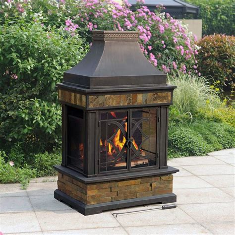 Sunjoy Heirloom Outdoor Patio Wood Burning Slate Fireplace