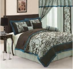 7pc queen faux silk and flocking printing aqua blue teal brown patchwork comforter set bedding