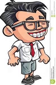 Cartoon Boy with Nerd Glasses